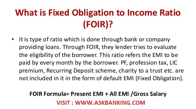 How To Calculate Fixed Obligation to Income Ratio (FOIR) in Loans ?