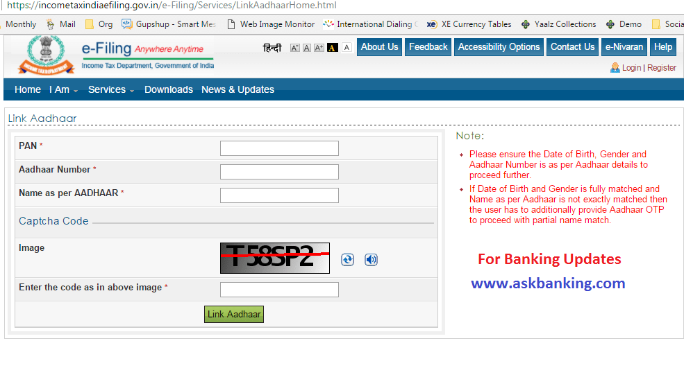 How To Link Aadhaar With PAN Through Income Tax Website ?