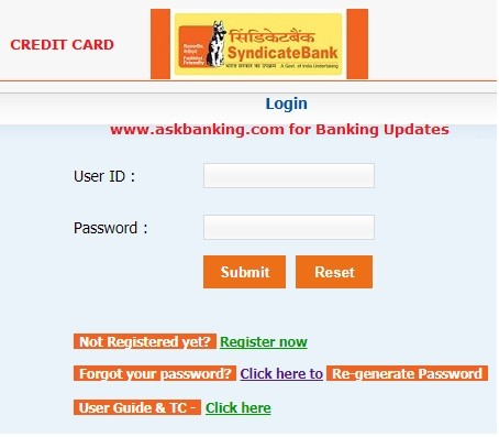How To Login Syndicate Bank Credit Card Online ?