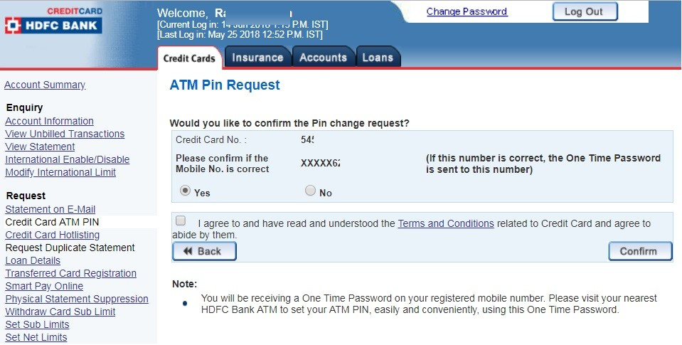 How To Change HDFC Credit Card ATM PIN Online ?
