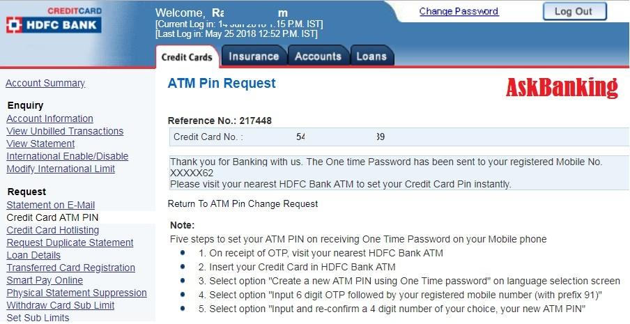how to change hdfc bank credit card pin online