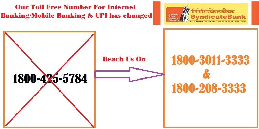 Syndicate Bank Mobile Banking/Internet Banking/UPI Customer Care Number