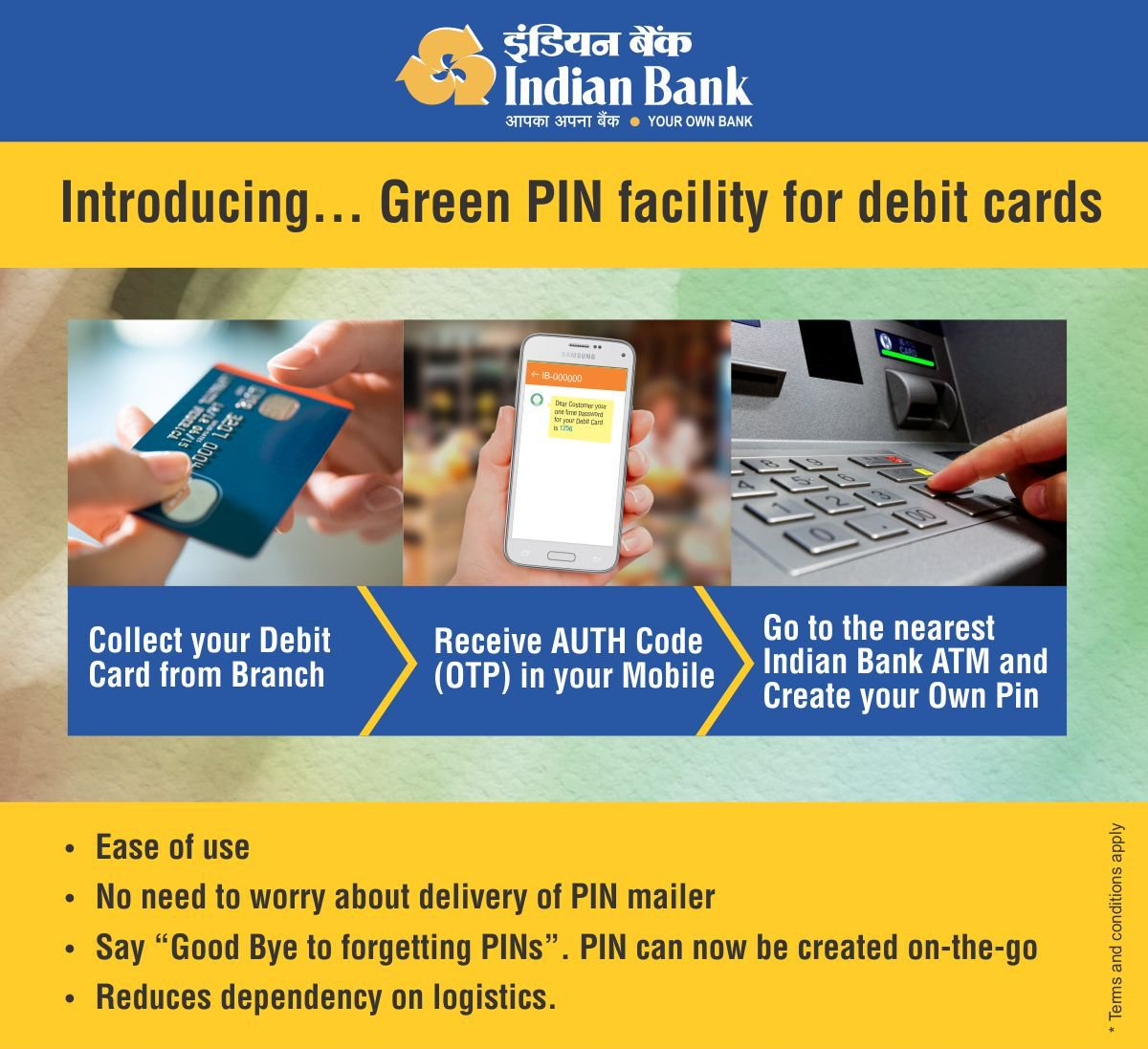 Generate Indian Bank Green PIN For Debit Card Online