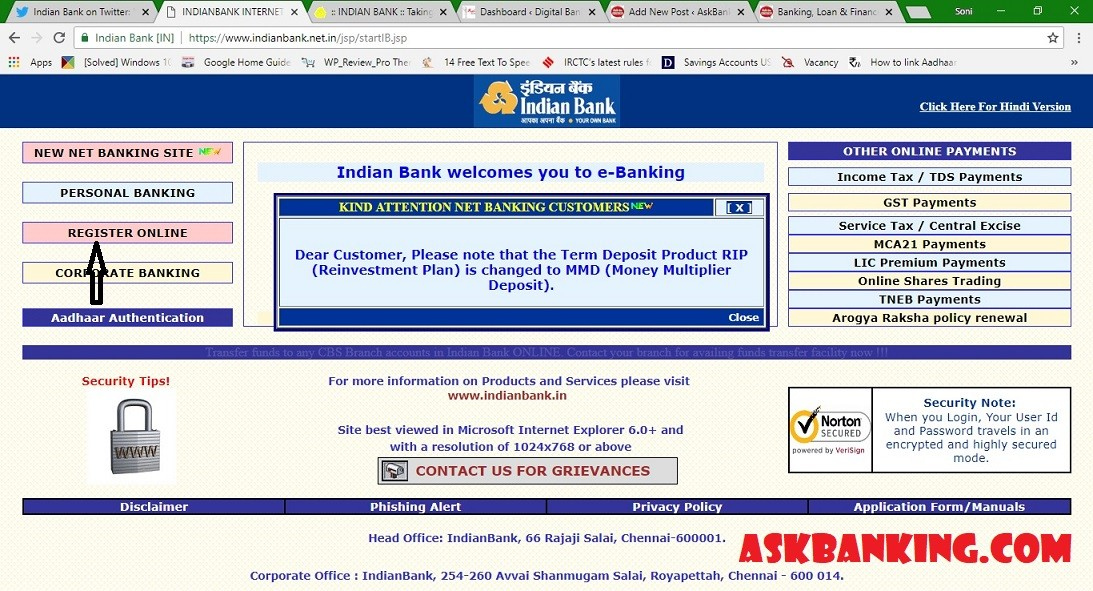 How To Create Indian Bank Internet Banking Password Online (Green PIN) ?