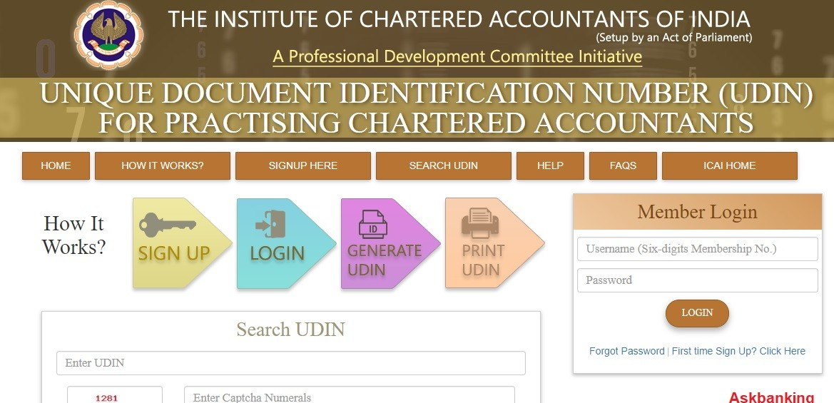 Unique Document Identification Number (UDIN) For Checking Authenticity of CA-Certified Documents