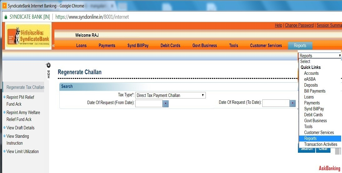Steps To Reprint Syndicate Bank Income Tax e-Challan Receipt Online