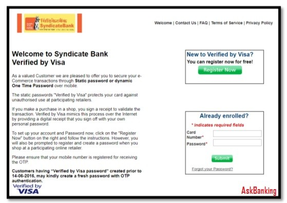 Syndicate Bank Debit Card Verified By Visa (VbV) Registration Process