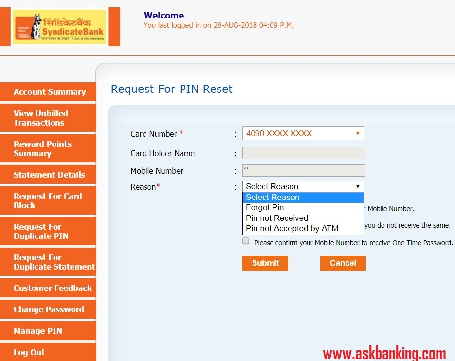 How To Reset Syndicate Bank Credit Card ATM PIN Online ?