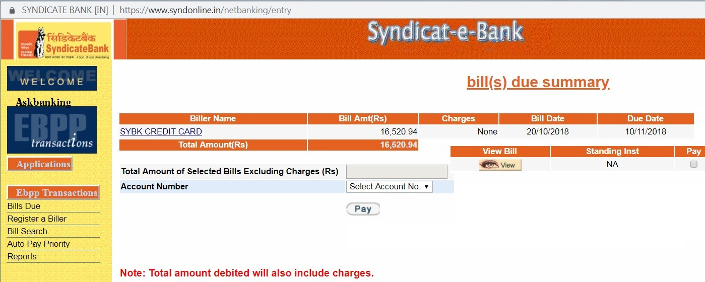 How To Pay Syndicate Bank Credit Card Minimum Outstanding Bill Amount ?