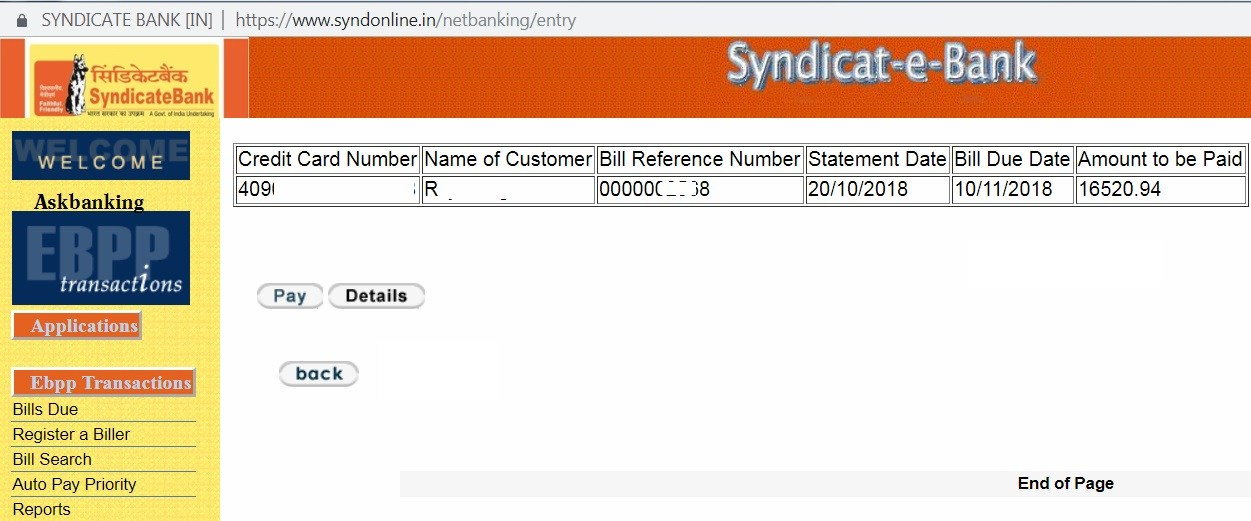 How To Pay SyndicateBank Credit Card Bills Using Internet Banking Online ?