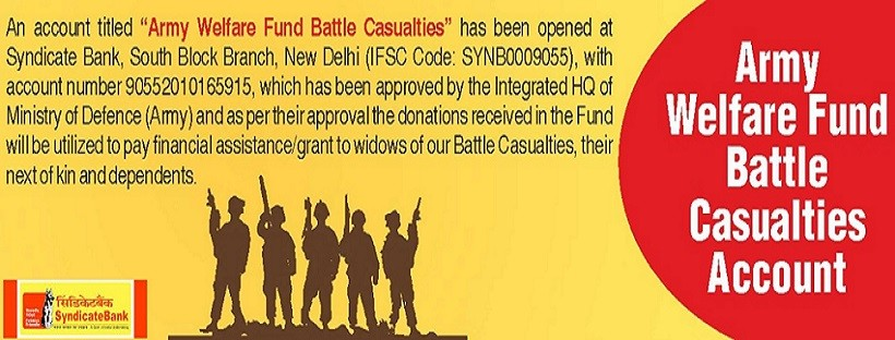 Army Welfare Fund Battle Casualties Account With Syndicate Bank is Real !