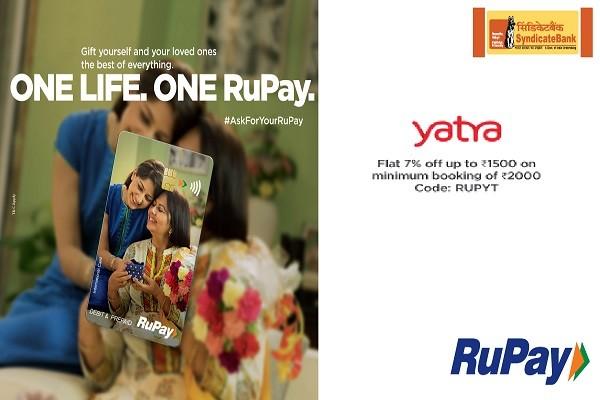 SyndicateBank Rupay Card FLAT 7% OFF on Yatra Air Ticket Booking