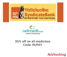 Syndicate Bank 30% Discount Offers on NetMeds.com