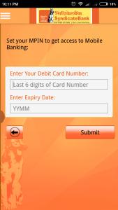 Syndicate Bank Mobile Banking mPIN