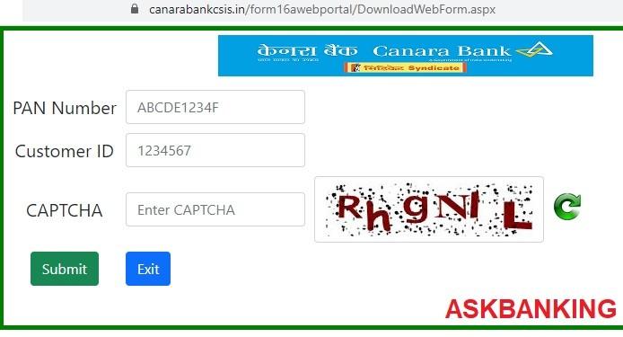 download canara bank form 16